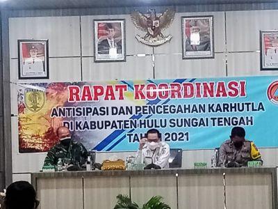 Bupati HST Pimpin Rakor Antisipasi dan Pencegahan Karhutla