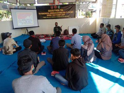 Sosialisasi Rekrutmen TNI AD Dalam Kegiatan TMMD Ke-111